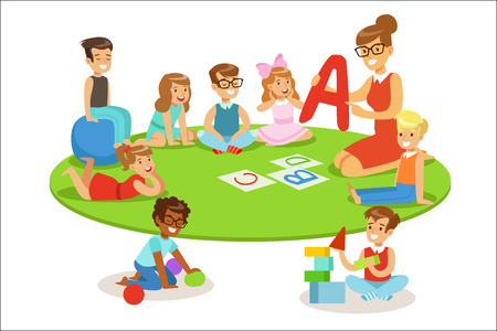 Illustration pour Young Children Learning Alphabet And Playing In Nursery School With Teacher Sitting And Laying On The Floor. Little Boys And Girls In Preschool Class With Adult Person Teaching Them While Entertaining Vector Cartoon Illustration. - image libre de droit