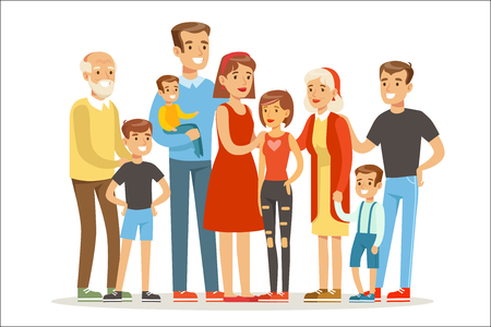 Illustrazione per Happy Big Caucasian Family With Many Children Portrait With All The Kids And Babies And Tired Parents Colorful - Immagini Royalty Free