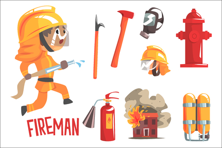 Illustration pour Boy Fireman, Kids Future Dream Fire Fighter Professional Occupation Illustration With Related To Profession Objects. Smiling Child Carton Character With Job Career Attributes Around Cute Vector Drawing. - image libre de droit