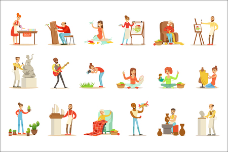 Illustration pour Adult People And Their Creative And Artistic Hobbies Set Of Cartoon Characters Doing Their Favorite Things. Smiling Happy Men And Woment Expressing Their Creativity Through Art Vector Illustrations. - image libre de droit