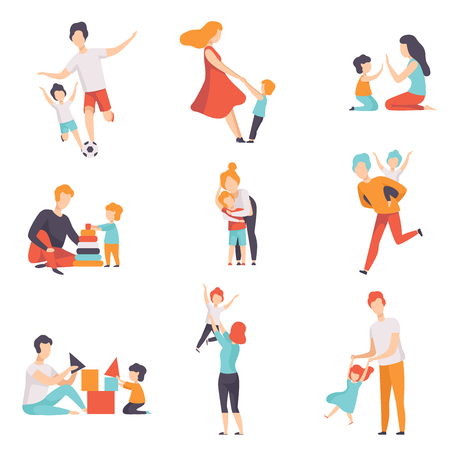 Ilustración de Parents and their kids having good time together set, Mom and Dad playing, doing sports, having fun with their children vector Illustrations isolated on a white background. - Imagen libre de derechos