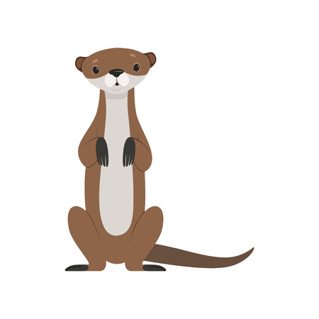 Illustrazione per Cute otter sitting, funny animal character front view vector Illustration isolated on a white background. - Immagini Royalty Free