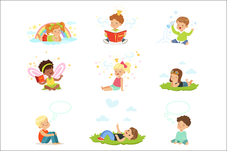 Illustration pour Happy and lovely children play and dream. Cartoon detailed colorful Illustrations isolated on white background - image libre de droit