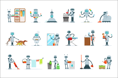 Illustration for Housekeeping Household Robot Doing Home Cleanup And Other Duties Set Of Futuristic Illustration With Servant Android - Royalty Free Image