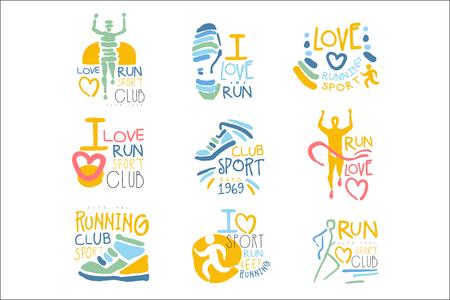 Ilustración de Running Supporters And Run Fans Club For People That Love Sport Set Of Colorful Promo Sign Design Templates - Imagen libre de derechos