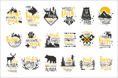 Illustration pour Alaska National Park Promo Signs Series Of Colorful Vector Design Templates With Wilderness Elements Silhouettes - image libre de droit