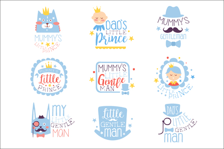 Illustration for Little Prince Set Of Prints For Infant Boy Room Or Clothing Design Templates In Pink And Blue Color. Vector Labels With Quotes Series Of Childish Posters For Toddler. - Royalty Free Image