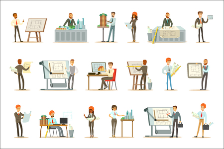 Illustration for Architect Profession Set Of Vector Illustrations With Architects Designing Projects And Blueprints For Building Construction. Smiling Cartoon Characters Involved In Architectural Plans Design For Modern Landscape. - Royalty Free Image