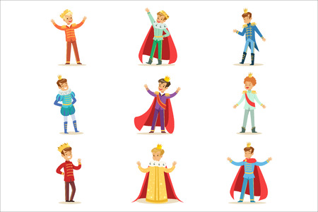 Illustration for Little Boys In Prince Costume With Crown And Mantle Set Of Cute Kids Dressed As Royals Illustrations - Royalty Free Image