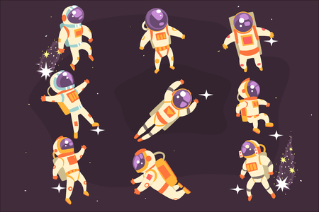 Illustration pour Astronaut Space Suit Floating In Open Space Different Positions Set Of Illustrations, Spaceman Flying In Pressure Suit And Helmet With Dark Sky On Background. - image libre de droit