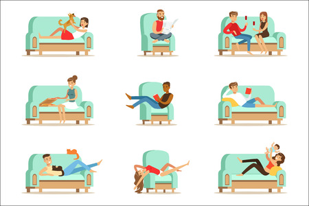 Illustrazione per People Resting At Home Relaxing On Sofa Or Armchair Having Lazy Free Time And Rest Seris Of Illustrations. Weekend Indoors With Happy Men And Women Having Good Time. - Immagini Royalty Free