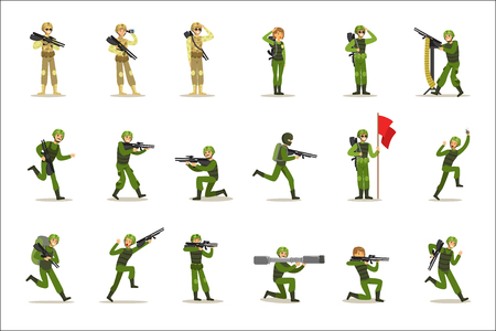 Illustration pour Infantry Soldiers In Full Military Khaki Uniform With Guns During War Operation Set Of Cartoon Land Forces Cartoon Characters. Vector Illustration With Infantrymen At Their Duty. - image libre de droit
