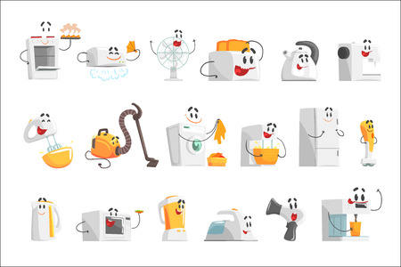 Ilustración de Smiling household appliances set for label design. Home electrical equipment as cartoon characters. Colorful detailed vector Illustrations isolated on white background - Imagen libre de derechos