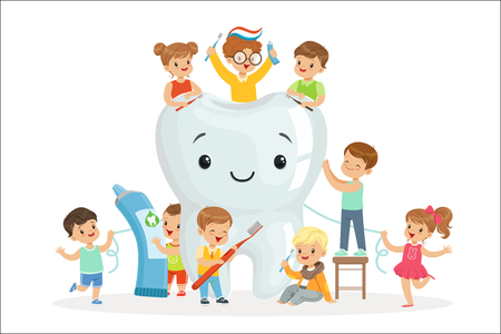 Illustration for Little children take care of and clean a large, smiling tooth. Pediatric dentistry and caring for children teeth. Colorful cartoon characters detailed vector Illustrations isolated on white background - Royalty Free Image