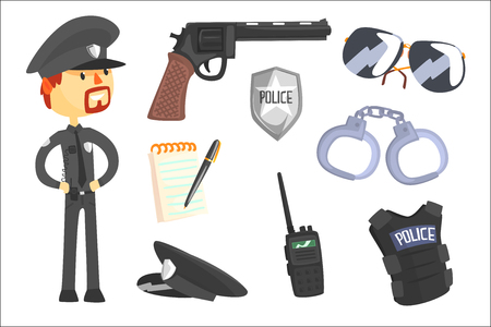 Illustration pour Professional Policeman And His Tools, Man And His Profession Attributes Set Of Isolated Cartoon Objects. Police Officer And Cop Duty Related Collection Of Isolated Items. - image libre de droit