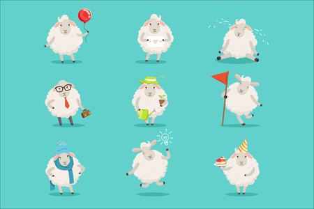 Ilustración de Funny cute little sheep cartoon characters set for label design. Sheep activities with different emotions and poses. Colorful detailed vector Illustrations isolated on white background - Imagen libre de derechos