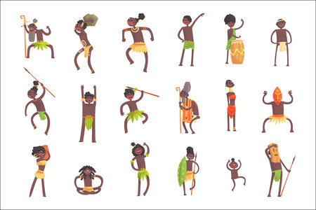 Illustration for African Tribe Members, Warriors And Civilians In Leaf Loincloths Set Of Smiling Cartoon Characters. Indigenous Happy People From Black Africa In Tribal Clothes Vector Isolated Illustrations. - Royalty Free Image