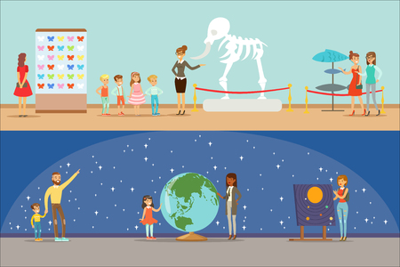 Illustration pour Museum Visitors Taking A Museum Tour With And Without A Guide Looking At Art And Science Exhibitions Set OF Illustrations - image libre de droit