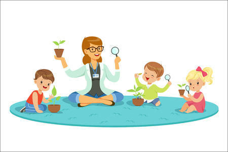 Ilustración de Teacher with kids learning about plants during biology lesson. Preschool environmental education concept. Cartoon detailed colorful Illustrations isolated on white background - Imagen libre de derechos