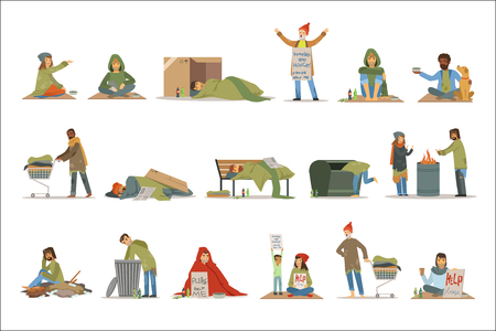 Ilustración de Homeless people characters set. Unemployment men needing help vector illustrations isolated on a white background - Imagen libre de derechos