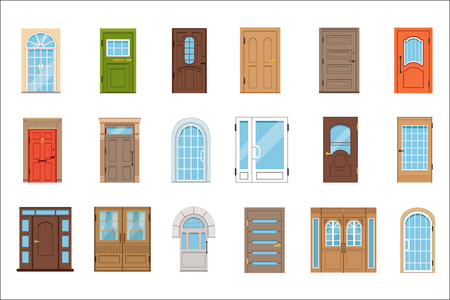 Illustration for Colorful front doors. Collection of vIntage and modern doors to houses and buildings vector illustrations - Royalty Free Image
