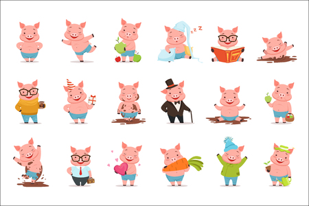 Ilustración de Little cartoon pigs characters posing in different situations set of vector illustrations isolated on a white background - Imagen libre de derechos