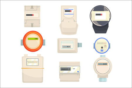 Ilustración de Set of meters, mechanical and electronic counters vector Illustrations isolated on a white background - Imagen libre de derechos