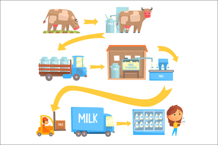 Ilustración de Production and processing milk stages set of vector Illustrations isolated on a white background - Imagen libre de derechos