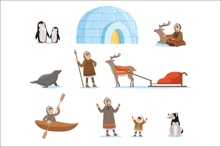 Illustration for Eskimo characters in traditional clothing and their arctic animals. Life in the far north. Set of colorful cartoon detailed vector Illustrations isolated on white background - Royalty Free Image