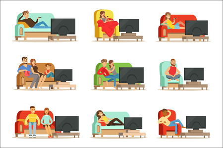 Ilustración de Happy people watching television sitting on the couch at home, colorful Illustrations isolated on white background - Imagen libre de derechos