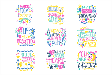 Illustration pour Short possitive messages, inspirational quotes colorful hand drawn vector Illustrations isolated on white background - image libre de droit