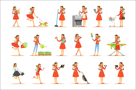 Illustration pour Mother Holding Baby In Arms Doing Different Activities Set Of Illustrations With Supermom And Her Duties. Young Mom With Kid Managing To Do Everything Collection Of Female Cartoon Character Life Scenes. - image libre de droit