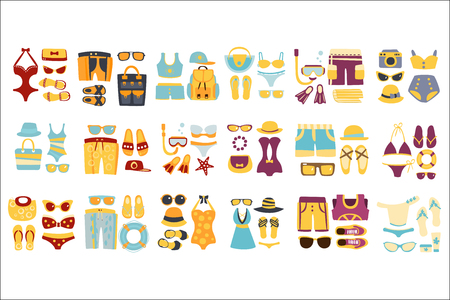Illustration for Beach Outfit Sets Of Clothing And Accessories In Simple Flat Vector Style Flat Illustrations On White Background - Royalty Free Image