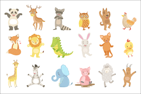 Illustration pour Humanized Animals Set Of Artistic Funny Stickers In Childish Design Vector Isolated On White Background - image libre de droit