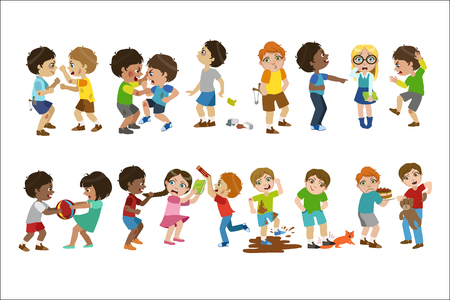 Illustrazione per Kids Bullies Childish Cartoon Style Cute Vector Illustration On White Background - Immagini Royalty Free