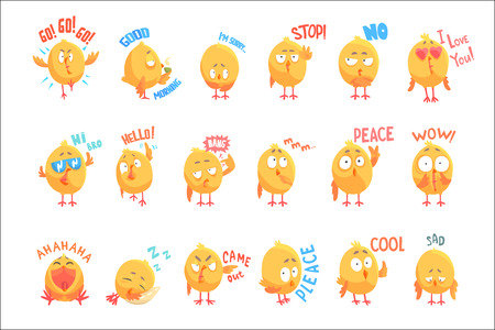 Ilustración de Cute cartoon chickens characters with different emotions and phrases set of vector Illustrations isolated on white background - Imagen libre de derechos