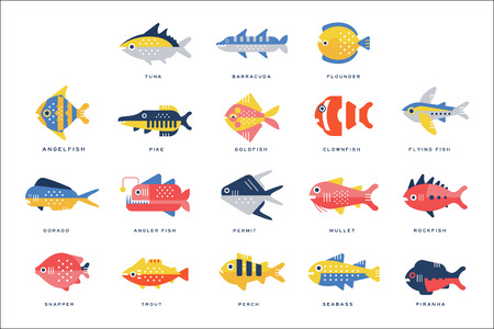 Ilustración de Collection of sea and river fish and lettering name in English vector Illustrations on a white background - Imagen libre de derechos