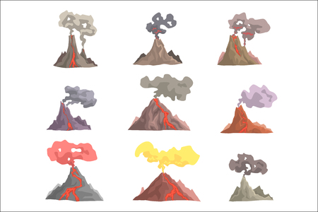 Illustration for Volcano eruption set, volcanic magma blowing up, lava flowing down cartoon vector Illustrations on a white background - Royalty Free Image