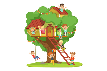 Illustration for Kids having fun in the treehouse, childrens playground with swing and ladder colorful detailed vector Illustration on a white background - Royalty Free Image