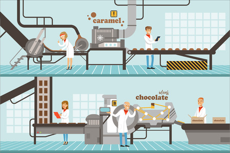 Illustration pour Process of caramel and chocolate production set of horizontal colorful banners - image libre de droit