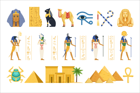 Illustration for Egypt set, Egyptian ancient symbols of the power of pharaohs and gods colorful vector Illustrations on a white background - Royalty Free Image