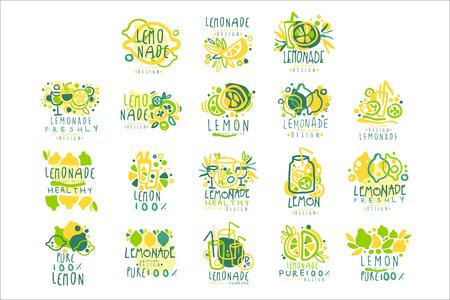 Ilustración de Lemonade, 100 percent pure lemon set for label design, hand drawn colorful vector Illustrations - Imagen libre de derechos
