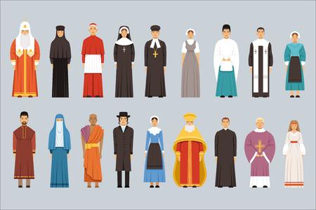 Illustration pour Religion people set, men and women of different religious confessions in traditional clothes - image libre de droit