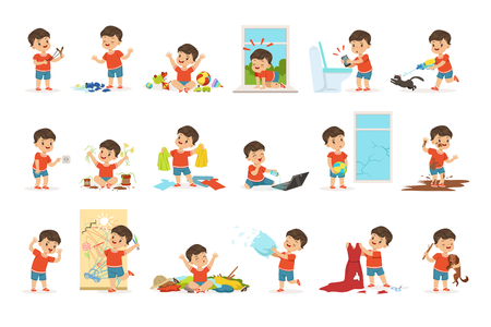 Ilustración de Funny little boy playing games and making mess - Imagen libre de derechos