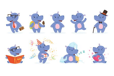 Illustration for Cute baby behemoth character in action. Happy, intelligent, walking, jumping, reading, sleeping, playing. Funny vector set of emotion hippo. Cartoon hippopotamus stickers collection in different poses - Royalty Free Image