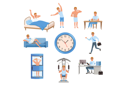 Ilustración de Young man in different situations. Day time. Waking up, doing exercises, brushing teeth, eating, resting on sofa, running on work, taking shower, training at gym, working. Daily routine. Flat vector - Imagen libre de derechos
