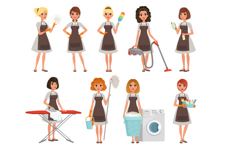 Illustration for Set of housewives with different equipment. Housekeeper. Cleaning service. Pretty women wearing gray dresses and brown aprons. Cartoon young girls. Flat vector design - Royalty Free Image
