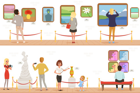 Illustration pour Cartoon characters people visitors in art museum. Paintings, butterflies collection and sculptures in the gallery. Cultural activities concept. Vector vertical flat banners - image libre de droit