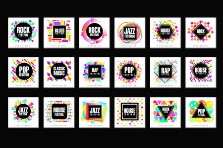 Ilustración de Music Festival set, classic, house, pop, rap, jazz music design element vector Illustrations - Imagen libre de derechos