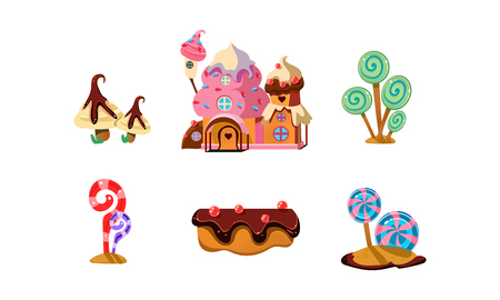 Illustration for Sweet candy land, cute cartoon elements of fantasy landscape for mobile game design interface vector Illustration on a white background - Royalty Free Image